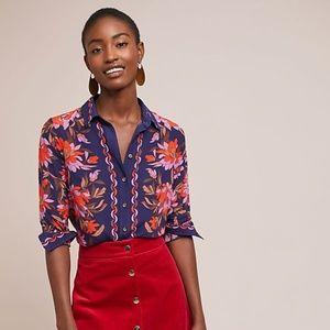 Anthropologie Maeve Paradigm Floral Silk Blouse 0P